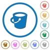 Bucket icons with shadows and outlines - Bucket flat color vector icons with shadows in round outlines on white background