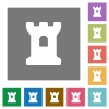 Bastion square flat icons - Bastion flat icons on simple color square backgrounds