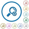 Search settings icons with shadows and outlines - Search settings flat color vector icons with shadows in round outlines on white background