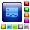 Shared drive color square buttons - Shared drive icons in rounded square color glossy button set