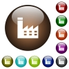Factory building color glass buttons - Factory building white icons on round color glass buttons