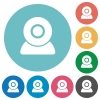 Webcam flat round icons - Webcam flat white icons on round color backgrounds