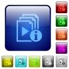 Playlist information color square buttons - Playlist information icons in rounded square color glossy button set