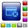 Cancel credit card color square buttons - Cancel credit card icons in rounded square color glossy button set
