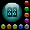 Speakers icons in color illuminated glass buttons - Speakers icons in color illuminated spherical glass buttons on black background. Can be used to black or dark templates