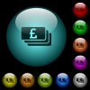 Pound banknotes icons in color illuminated glass buttons - Pound banknotes icons in color illuminated spherical glass buttons on black background. Can be used to black or dark templates