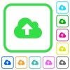 Cloud upload vivid colored flat icons - Cloud upload vivid colored flat icons in curved borders on white background