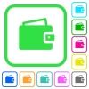 Single wallet vivid colored flat icons - Single wallet vivid colored flat icons in curved borders on white background