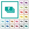 Indian Rupee banknotes flat color icons with quadrant frames - Indian Rupee banknotes flat color icons with quadrant frames on white background