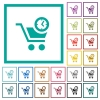 Instant purchase flat color icons with quadrant frames - Instant purchase flat color icons with quadrant frames on white background