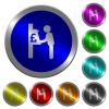 Pound cash machine luminous coin-like round color buttons - Pound cash machine icons on round luminous coin-like color steel buttons