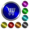 Shopping cart luminous coin-like round color buttons - Shopping cart icons on round luminous coin-like color steel buttons