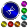 DNA molecule luminous coin-like round color buttons - DNA molecule icons on round luminous coin-like color steel buttons