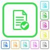 Document ok vivid colored flat icons - Document ok vivid colored flat icons in curved borders on white background