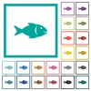 Fish flat color icons with quadrant frames - Fish flat color icons with quadrant frames on white background