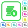 Yen coins vivid colored flat icons - Yen coins vivid colored flat icons in curved borders on white background