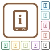 Mobile information simple icons - Mobile information simple icons in color rounded square frames on white background