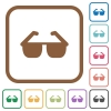Sunglasses simple icons - Sunglasses simple icons in color rounded square frames on white background