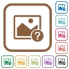 Unknown image simple icons - Unknown image simple icons in color rounded square frames on white background