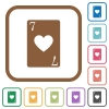 Seven of hearts card simple icons - Seven of hearts card simple icons in color rounded square frames on white background