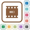 Movie processing simple icons in color rounded square frames on white background - Movie processing simple icons
