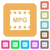 MPG movie format rounded square flat icons - MPG movie format flat icons on rounded square vivid color backgrounds.