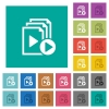 Start playlist square flat multi colored icons - Start playlist multi colored flat icons on plain square backgrounds. Included white and darker icon variations for hover or active effects.