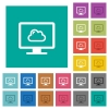 Cloud computing square flat multi colored icons - Cloud computing multi colored flat icons on plain square backgrounds. Included white and darker icon variations for hover or active effects.
