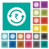Rupee pay back guarantee sticker square flat multi colored icons - Rupee pay back guarantee sticker multi colored flat icons on plain square backgrounds. Included white and darker icon variations for hover or active effects.