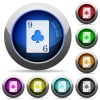 Nine of clubs card round glossy buttons - Nine of clubs card icons in round glossy buttons with steel frames