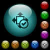 Accept size icons in color illuminated glass buttons - Accept size icons in color illuminated spherical glass buttons on black background. Can be used to black or dark templates