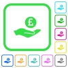 Pound earnings vivid colored flat icons - Pound earnings vivid colored flat icons in curved borders on white background