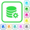 Database configuration vivid colored flat icons - Database configuration vivid colored flat icons in curved borders on white background
