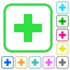 Add new item vivid colored flat icons - Add new item vivid colored flat icons in curved borders on white background