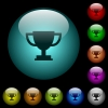 Trophy cup icons in color illuminated glass buttons - Trophy cup icons in color illuminated spherical glass buttons on black background. Can be used to black or dark templates