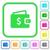 Dollar wallet vivid colored flat icons - Dollar wallet vivid colored flat icons in curved borders on white background
