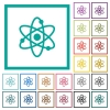 Atom symbol flat color icons with quadrant frames - Atom symbol flat color icons with quadrant frames on white background