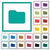 Single folder flat color icons with quadrant frames - Single folder flat color icons with quadrant frames on white background