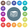 Books flat white icons on round color backgrounds. 17 background color variations are included. - Books flat white icons on round color backgrounds