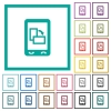 Change mobile display orientation flat color icons with quadrant frames - Change mobile display orientation flat color icons with quadrant frames on white background