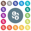 Pound Yen money exchange flat white icons on round color backgrounds. 17 background color variations are included. - Pound Yen money exchange flat white icons on round color backgrounds