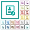 Call contact flat color icons with quadrant frames - Call contact flat color icons with quadrant frames on white background