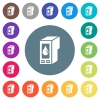Ink cartridge flat white icons on round color backgrounds. 17 background color variations are included. - Ink cartridge flat white icons on round color backgrounds