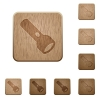 Flashlight wooden buttons - Flashlight on rounded square carved wooden button styles