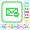 Secure mail vivid colored flat icons - Secure mail vivid colored flat icons in curved borders on white background