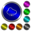 Cloud network luminous coin-like round color buttons - Cloud network icons on round luminous coin-like color steel buttons