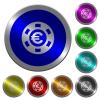 Euro casino chip luminous coin-like round color buttons - Euro casino chip icons on round luminous coin-like color steel buttons