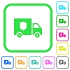 Money deliverer truck vivid colored flat icons - Money deliverer truck vivid colored flat icons in curved borders on white background