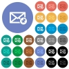 Pin mail round flat multi colored icons - Pin mail multi colored flat icons on round backgrounds. Included white, light and dark icon variations for hover and active status effects, and bonus shades on black backgounds.