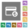 Turkish Lira credit card square flat icons - Turkish Lira credit card flat icons on simple color square backgrounds